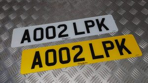 Front and Rear Number Plates – White and Yellow British Standard Legal Number Plate
